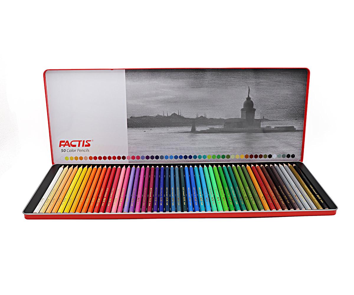 مداد رنگی 50 رنگ جعبه فلزی - فکتیسمداد رنگی 50 رنگ جعبه فلزی - فکتیس
