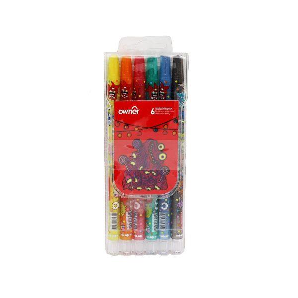 ست 6 رنگ مداد شمعي اونر - 533806